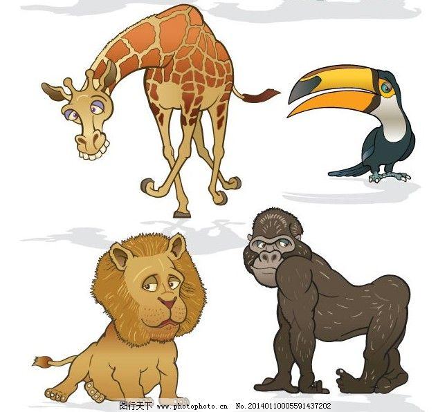 6款可爱搞怪卡通动物矢量素材 斑马 长颈鹿 大象 狮子 啄木鸟
