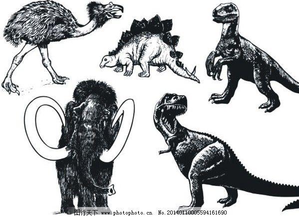 各种恐龙等大型史前动物素描矢量素材