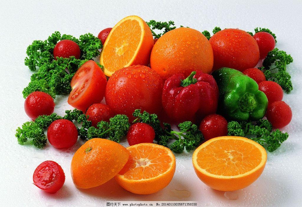 水果 蔬菜 香橙 橙子 西红柿 花菜 圣女果 小番茄 番茄 生物世界 摄影