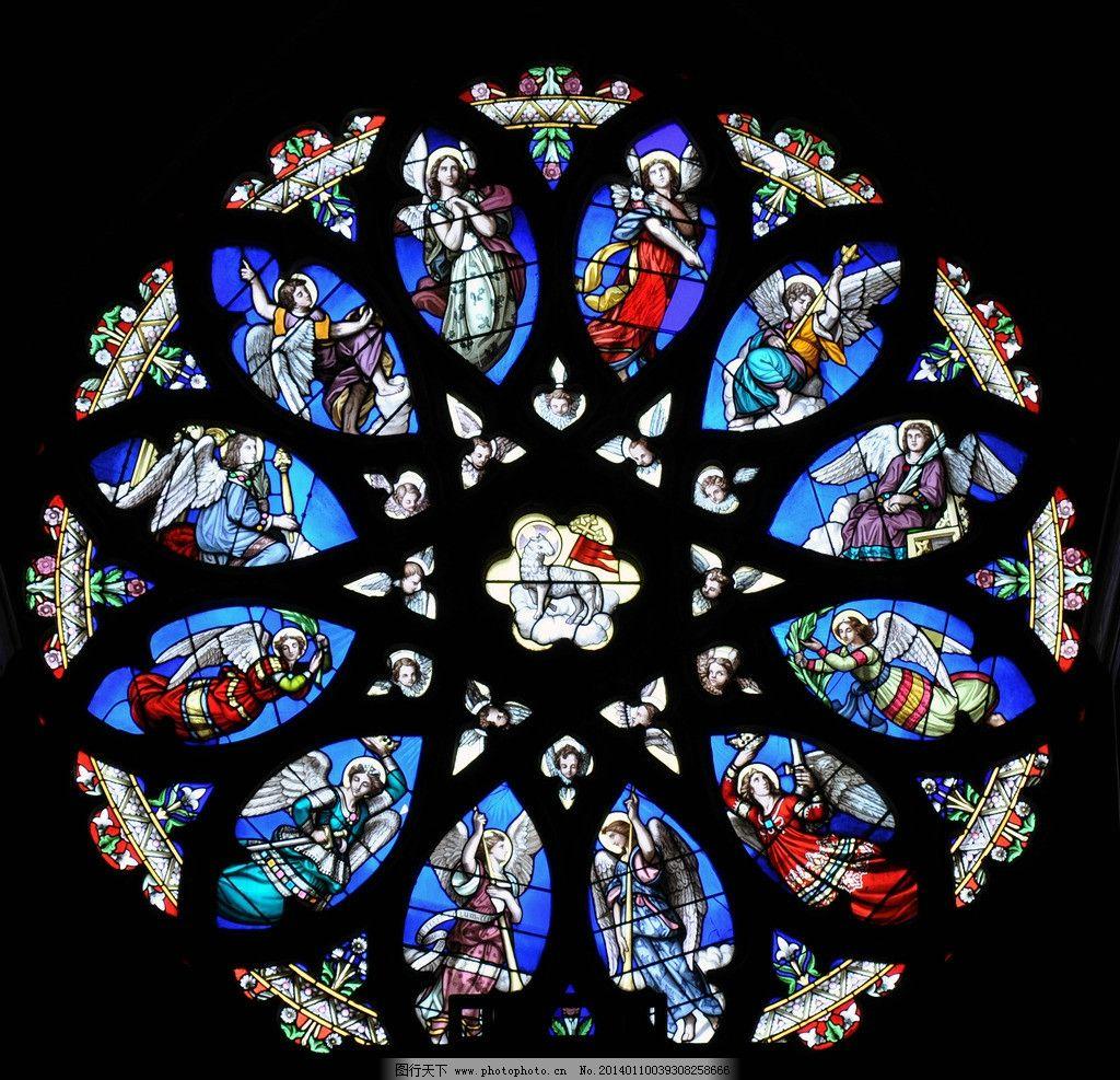 彩色玻璃画 彩色玻璃 教堂 宗教 彩色 窗户 美术 艺术 圆形 天使 圣
