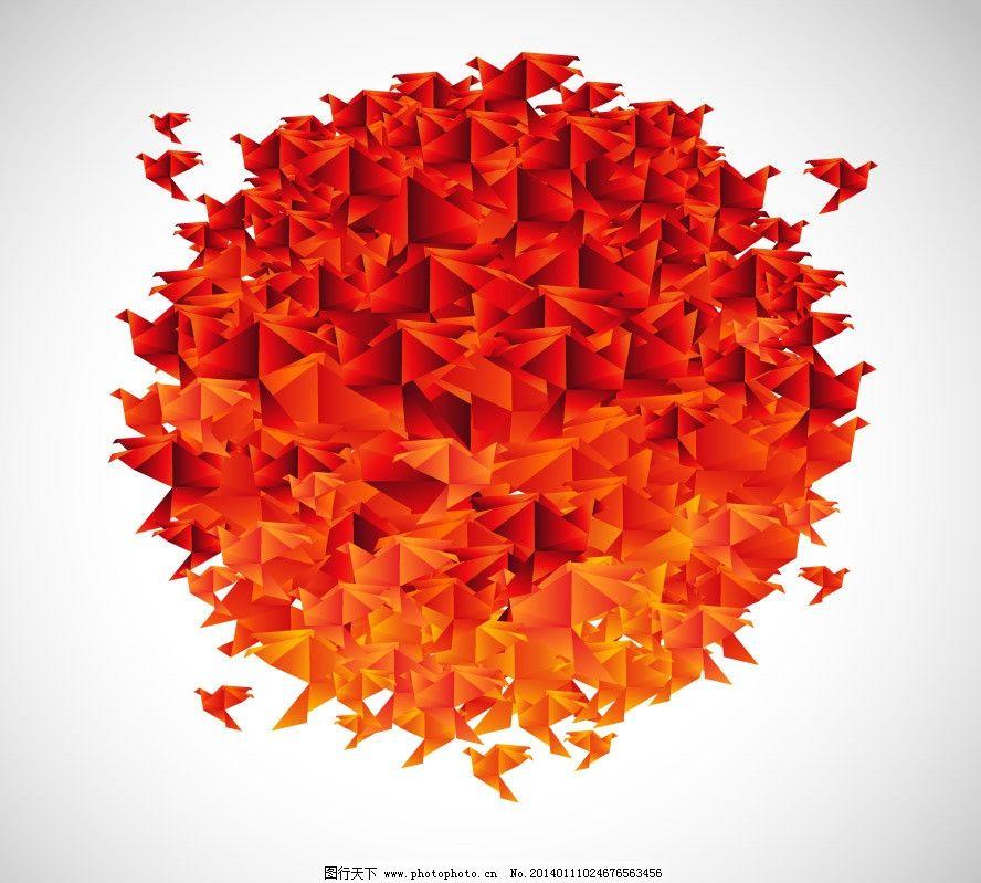 千纸鹤红日 千纸鹤 飞鸽 鸽子 信鸽 和平鸽 红日 折纸千纸鹤 叠纸千
