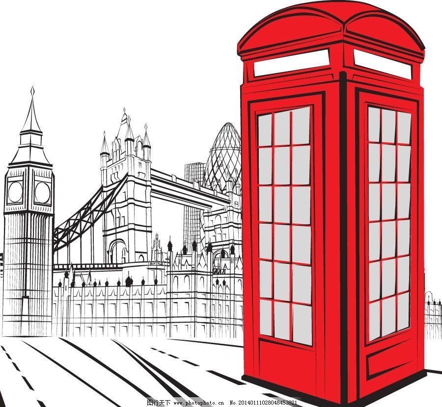 复古英国伦敦大桥 手绘 岗厅 泰晤士河 旅游胜地 世界名胜 飞机 建筑