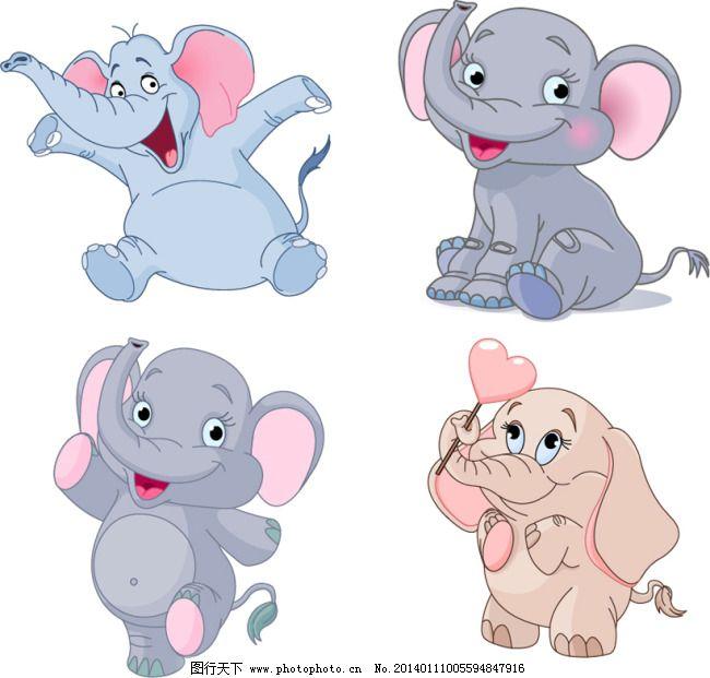 卡通小象矢量免费下载 动物 卡通 可爱 矢量素材 小象 卡通 可爱 动物