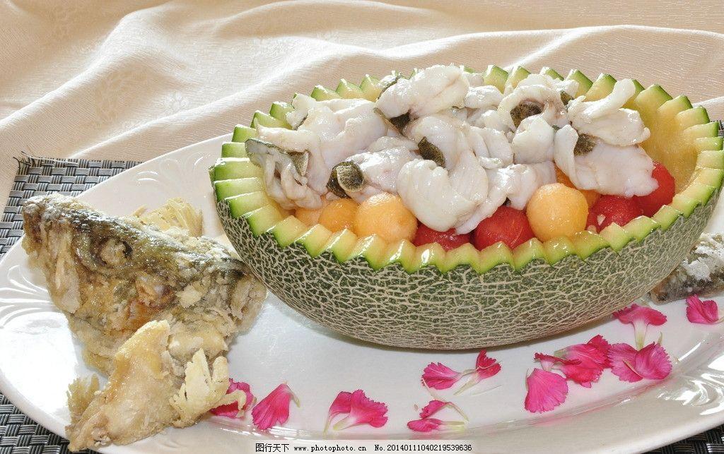 水果菜肴 美食 哈密瓜配鱼片 高档水果拼盘 圣女果配鱼片 珍珠配鱼
