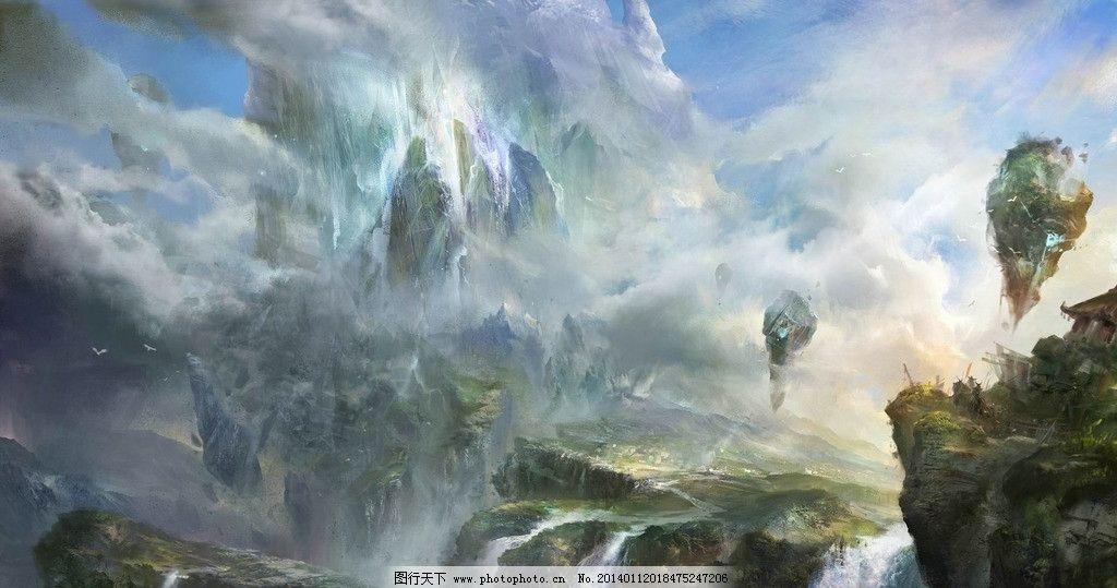 游戏风景 绘画 艺术 手绘 瀑布 游戏场景 动漫风景 风景漫画 动漫动画