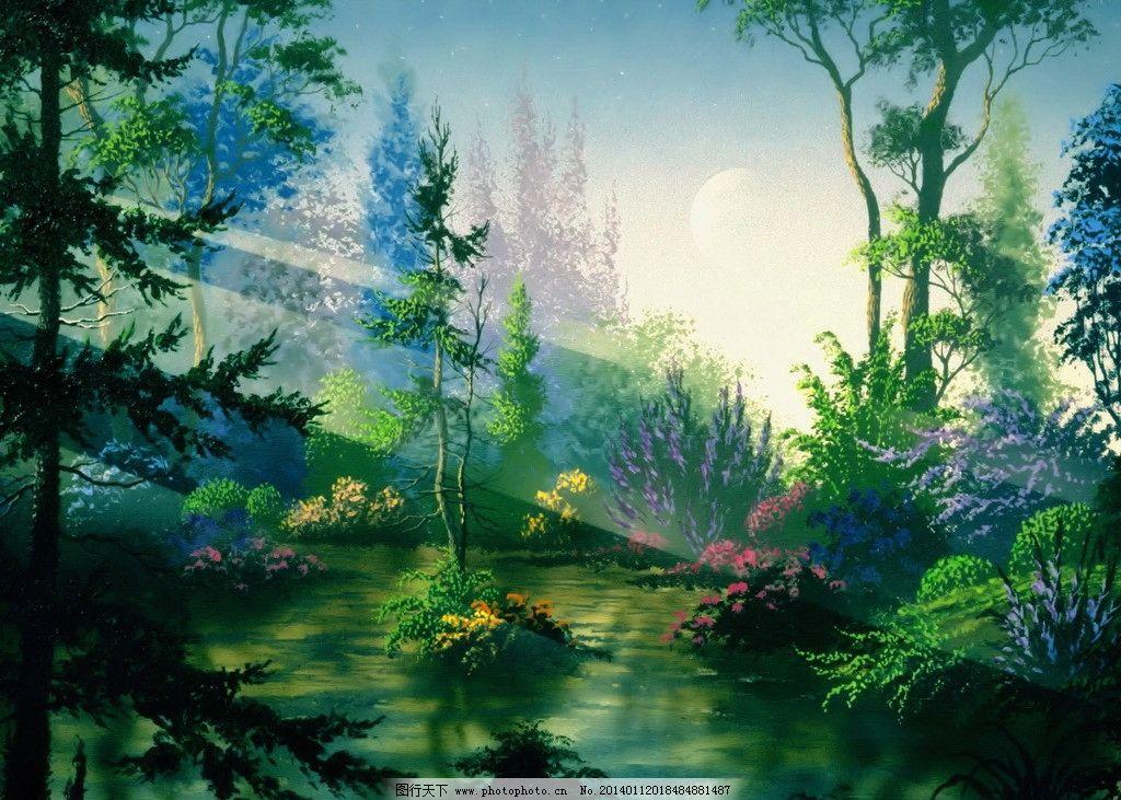 动漫风景 绘画 艺术 手绘 树林 光线 动漫动画
