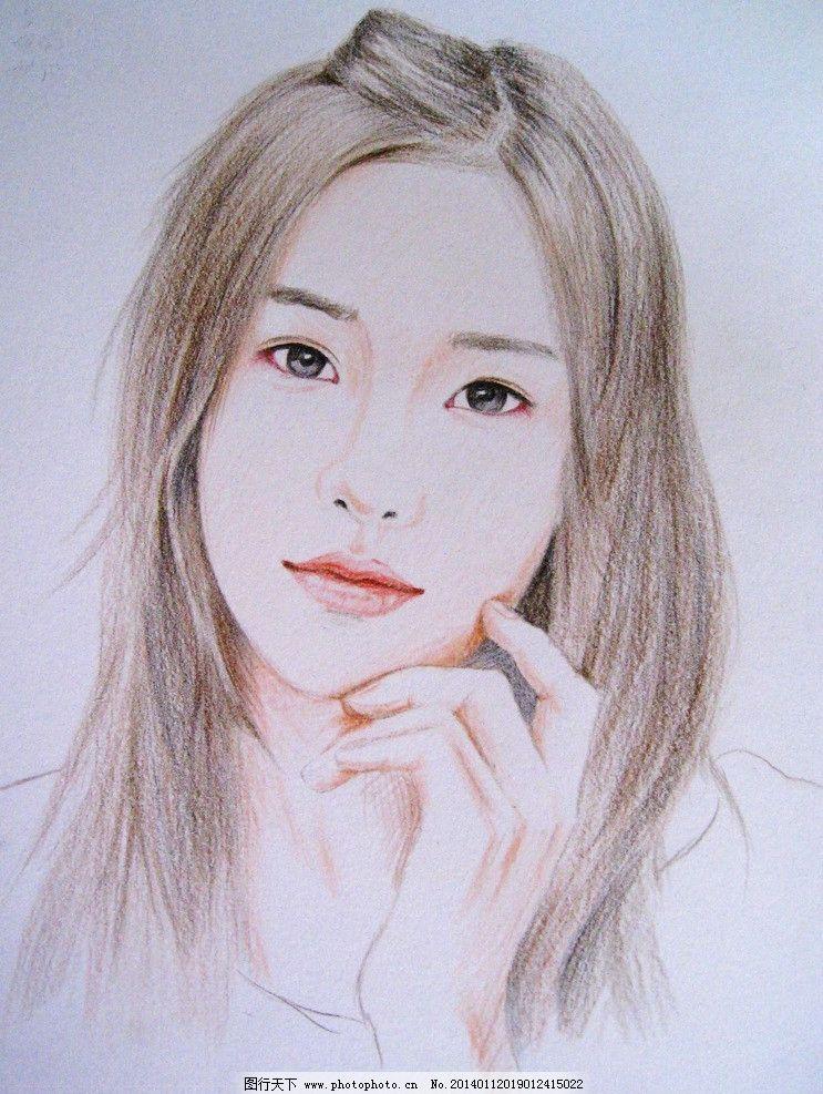 美女素描画 素描 铅笔 绘画 美女 少女 女性女人 人物图库 72dpi jpg