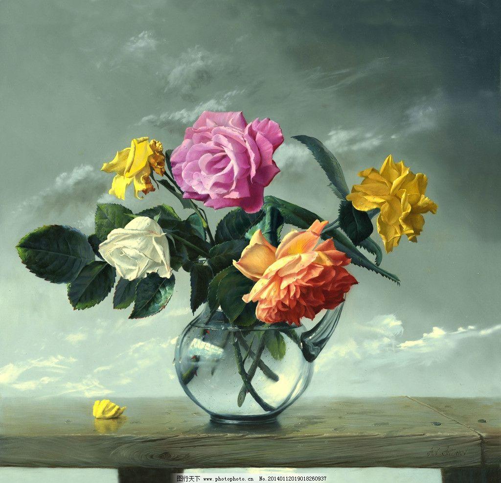 油画花卉 绘画 艺术 油画静物 唯美 写实油画 花瓶 玫瑰 当代油画
