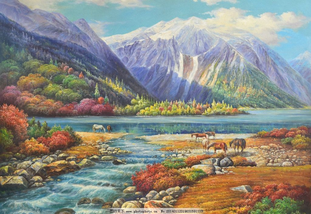 雪域美景 油画 装饰画 风景 手绘