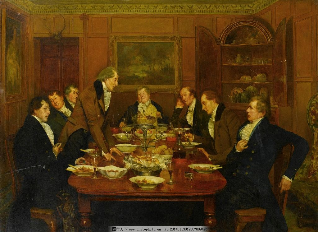 用餐油画 绅士们 交谈 水果 面包 蕃茄汁 19世纪油画 油画 绘画书法