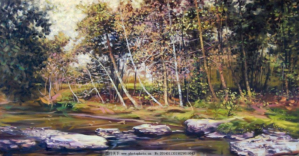 森林油画图片图片