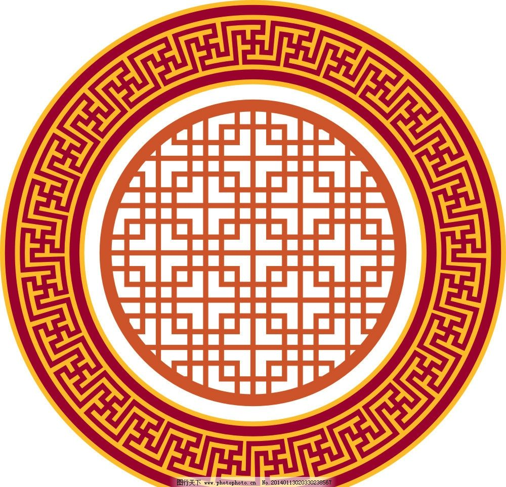 雕花 圆 中国风 素材 花窗 花纹花边 底纹边框 矢量 cdr