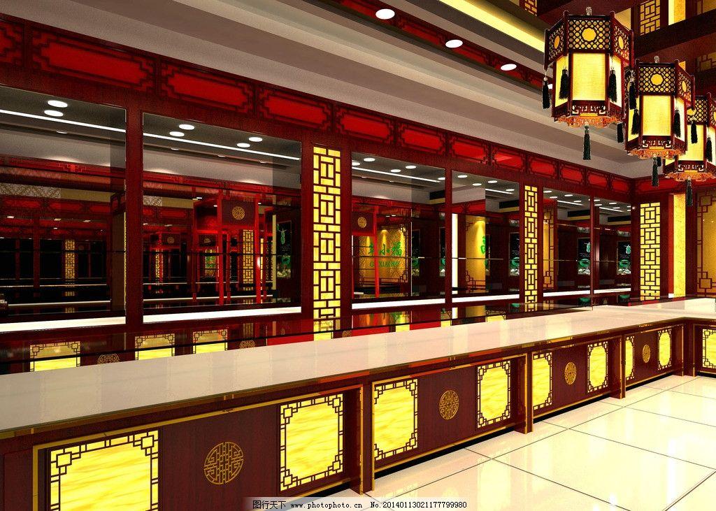 珠宝黄金展柜台效果图图片