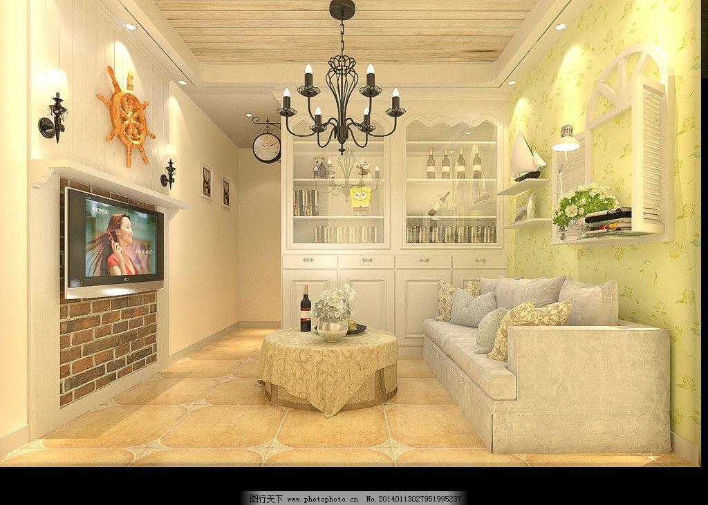 田园 客厅 风格 装修 效果图 沙发 电视机