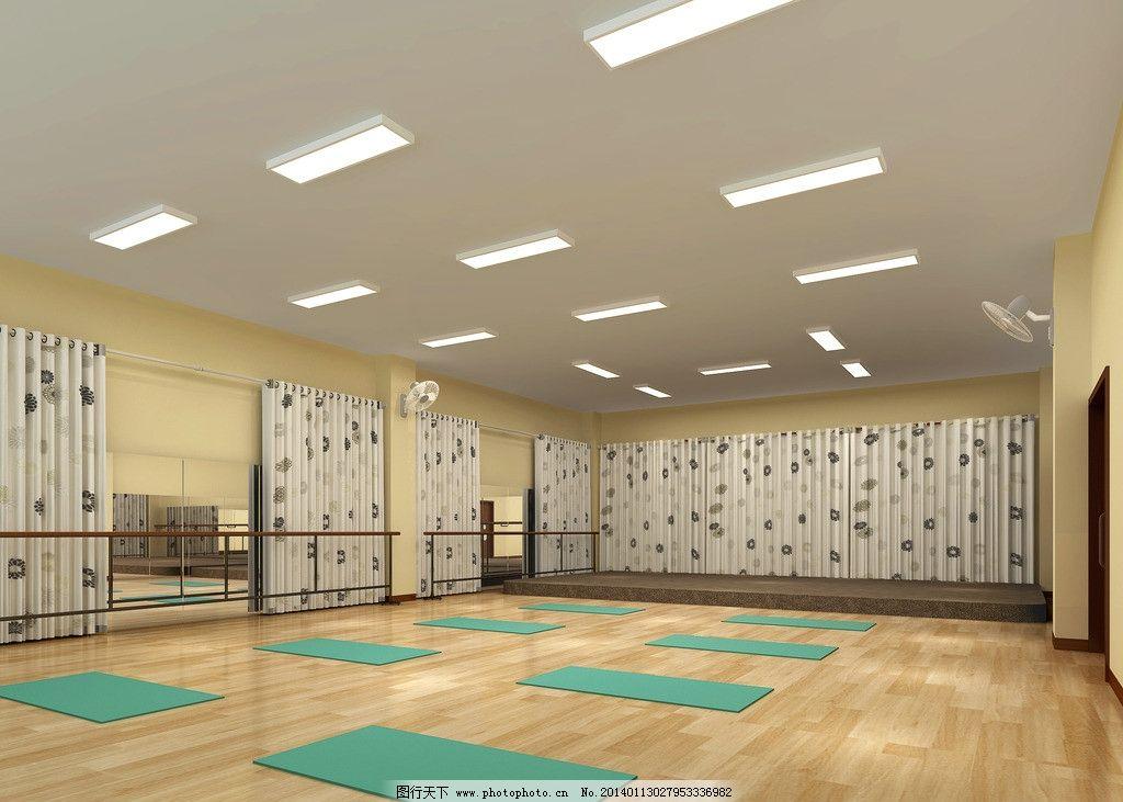 幼儿园 多功能室        素材      长方形 吸顶灯 木质栏杆 木地板
