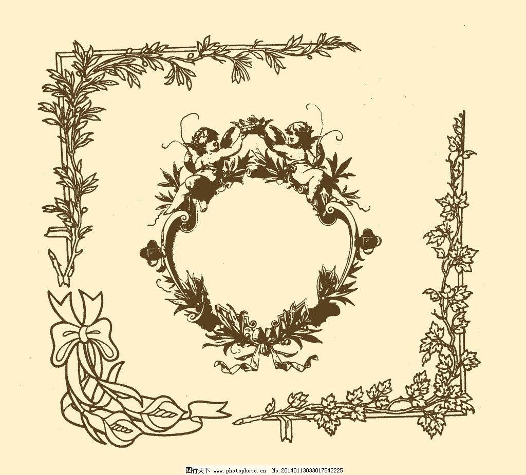 藤蔓植物手绘黑白边框