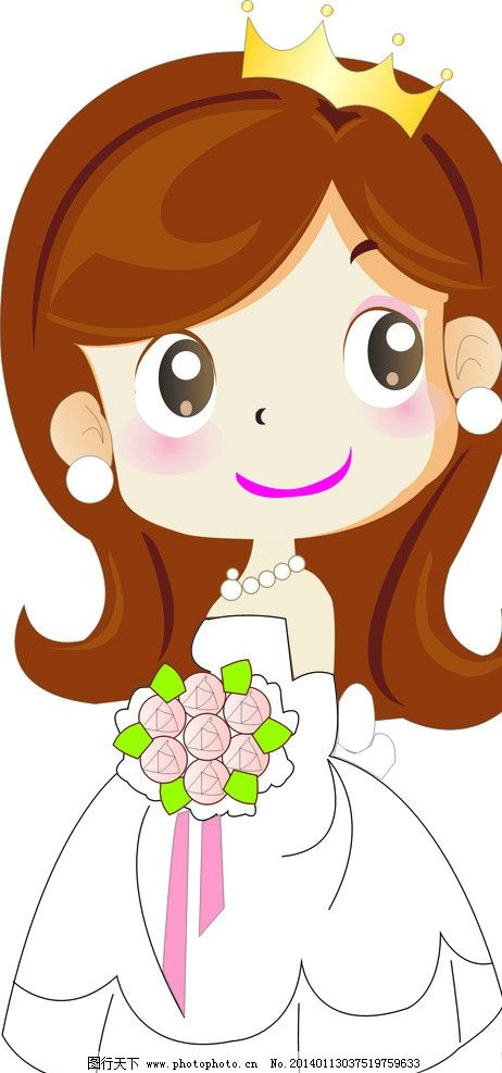 新娘 卡通娃娃 卡通新娘 婚礼娃娃 卡通 可爱 捧花 结婚 婚庆 卡通