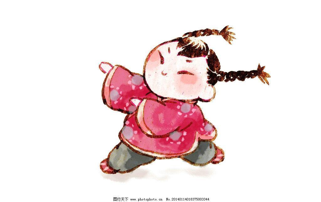 跳舞娃娃 水彩 淡彩 水墨 新年 儿童 小孩 喜庆 贺岁 花布衣裳