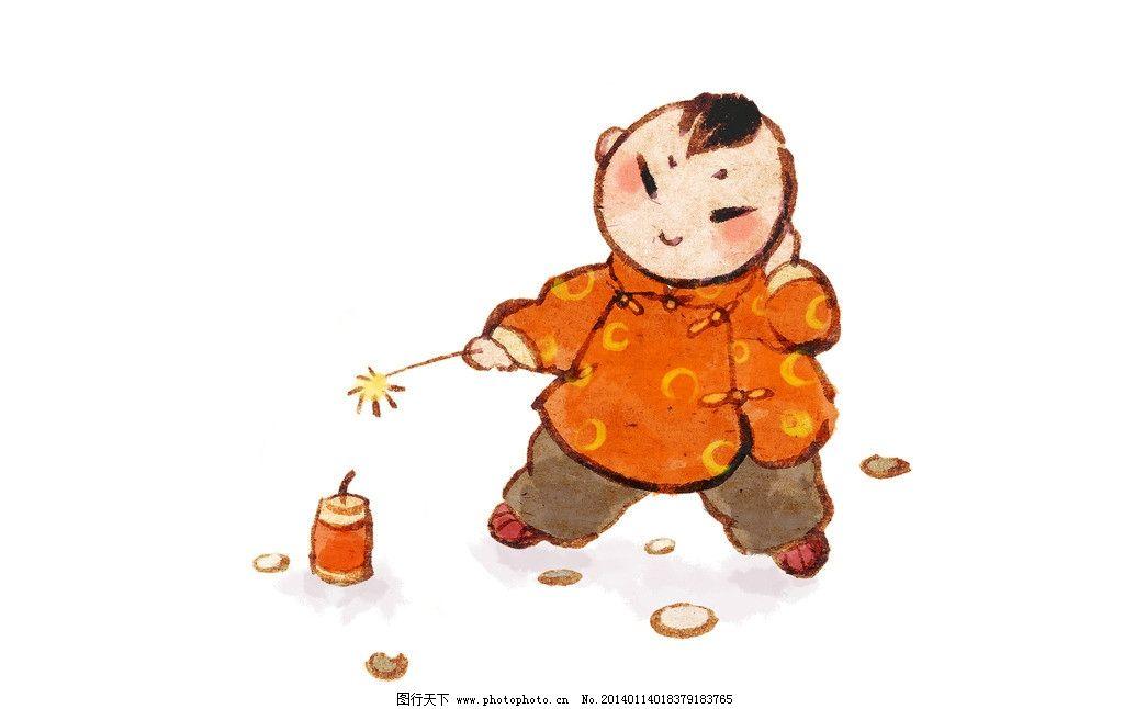 放炮竹娃娃 水彩 淡彩 水墨 新年 儿童 小孩 喜庆 贺岁 鞭炮