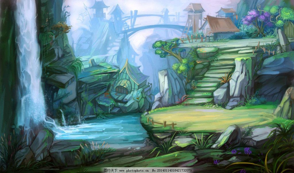 手绘风景 游戏风景 数字绘画 唯美 游戏原画 瀑布 动漫风景 动漫动画