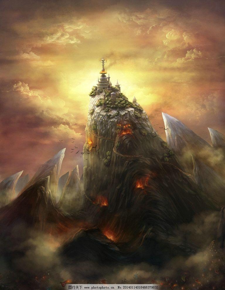 游戏场景 手绘 游戏风景 数字绘画 唯美 游戏原画 云雾 山峰