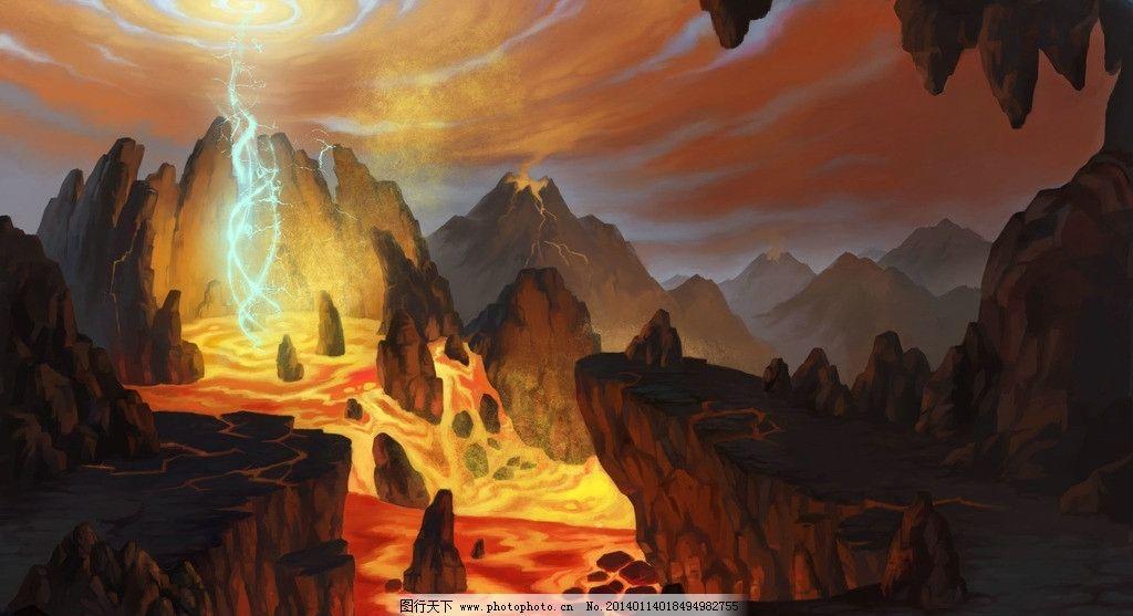 手绘风景 数字绘画 手绘 火山 熔岩 岩浆 动漫风景 风景漫画 动漫动