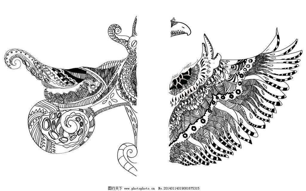 章鱼 鹰 装饰插画 线条 纹理 美术绘画 文化艺术 矢量 ai