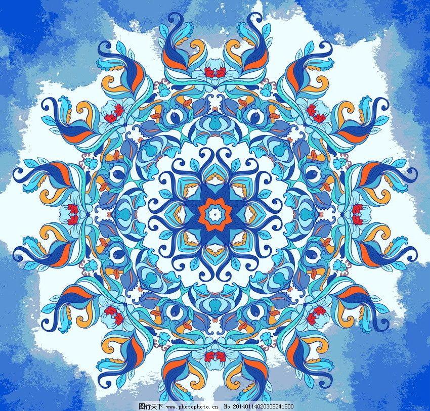 古典花纹 团花 圆形 非洲花纹 欧式花纹 时尚花纹 梦幻花纹 无缝花纹图片