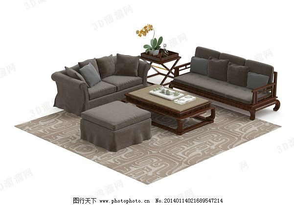 新中式沙发茶几组合 3d模型