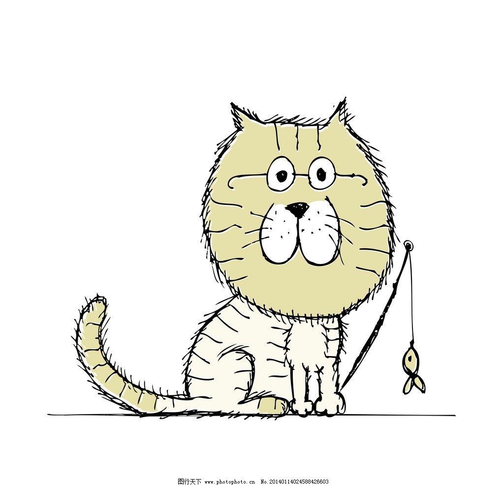 猫咪 小猫 手绘猫 卡通动物 卡通猫 宠物猫 猫插画 动物 家禽家畜