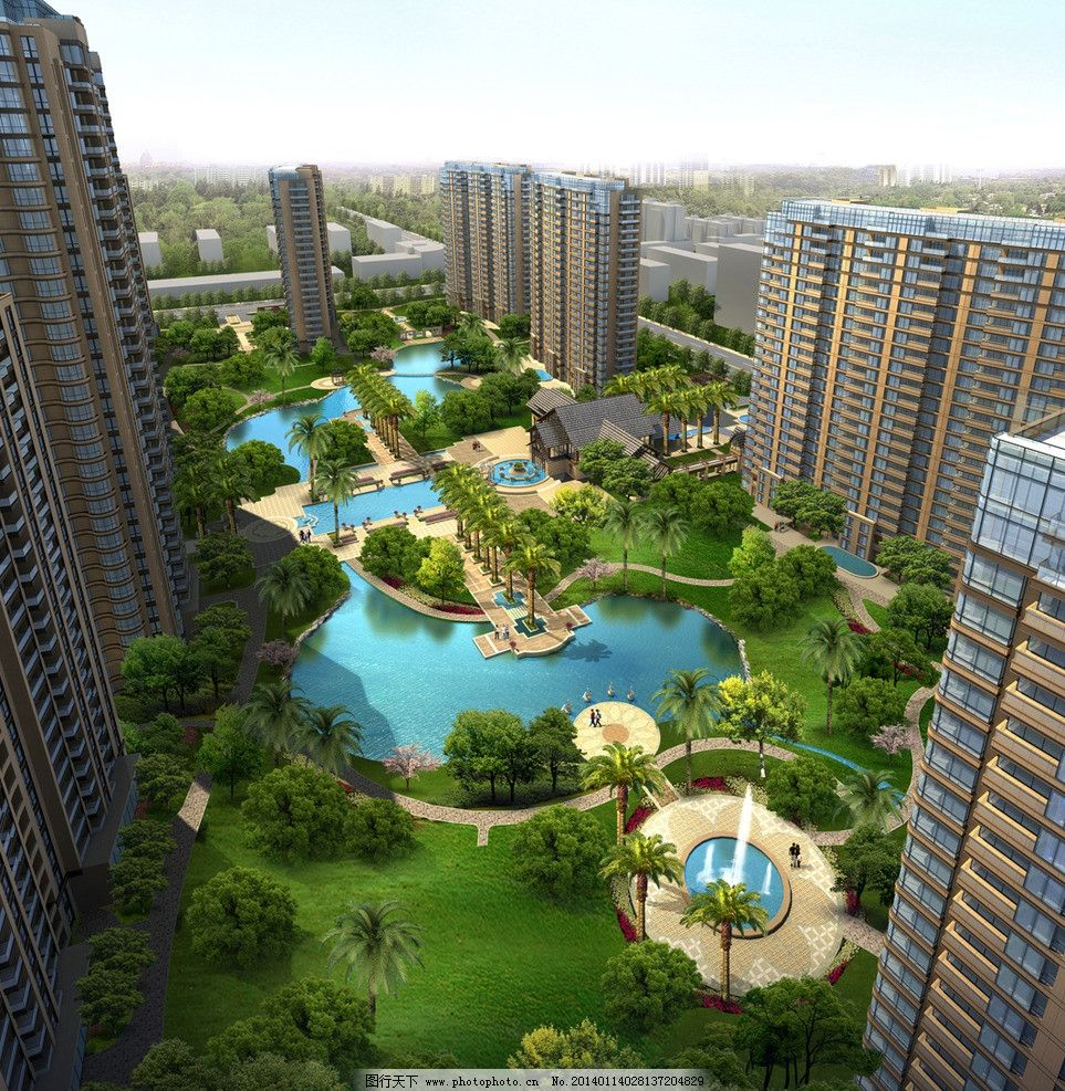 设计图库 环境设计 景观设计  雅佳小区景观鸟瞰图 游泳池 池塘 喷泉