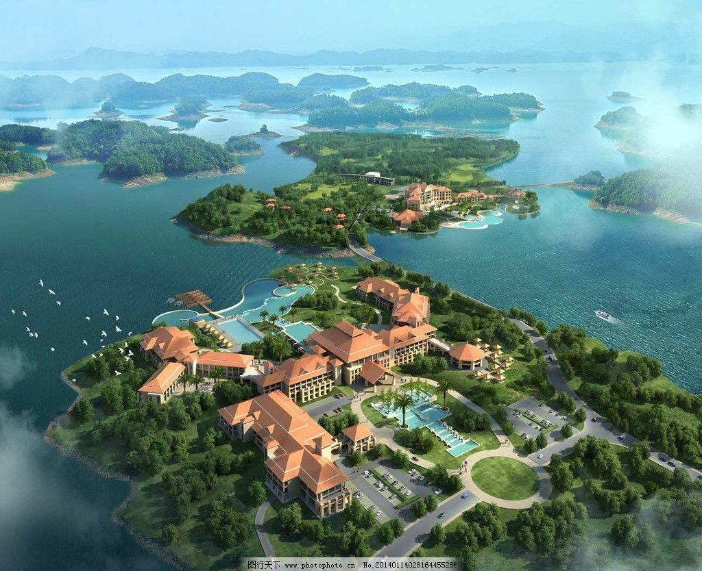 海岛旅游景观鸟瞰图图片_景观设计_环境设计_图行天下