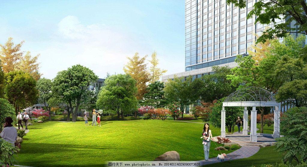大草坪效果图 酒店 宾馆 景观园林 房地产 喷泉 其他设计 源文件