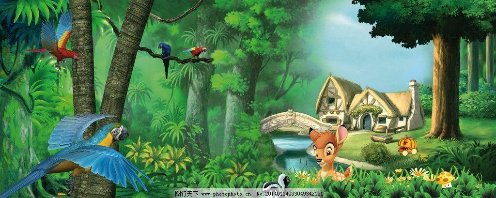 设计图库 psd分层 其他  动物森林 动物 森林 栅栏 鸟 小鹿 小桥 自然