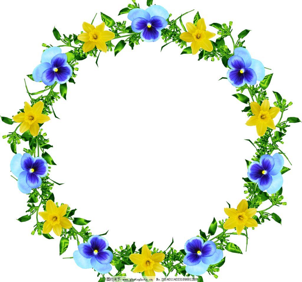 花环 花卉相框 花卉边框 圆形相框 花纹相框 底纹边框 创意 相框 欧式