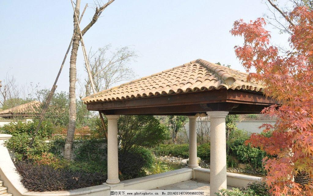 景观小品 别墅 欧式亭子 四角亭 园林 园林建筑 建筑园林 摄影