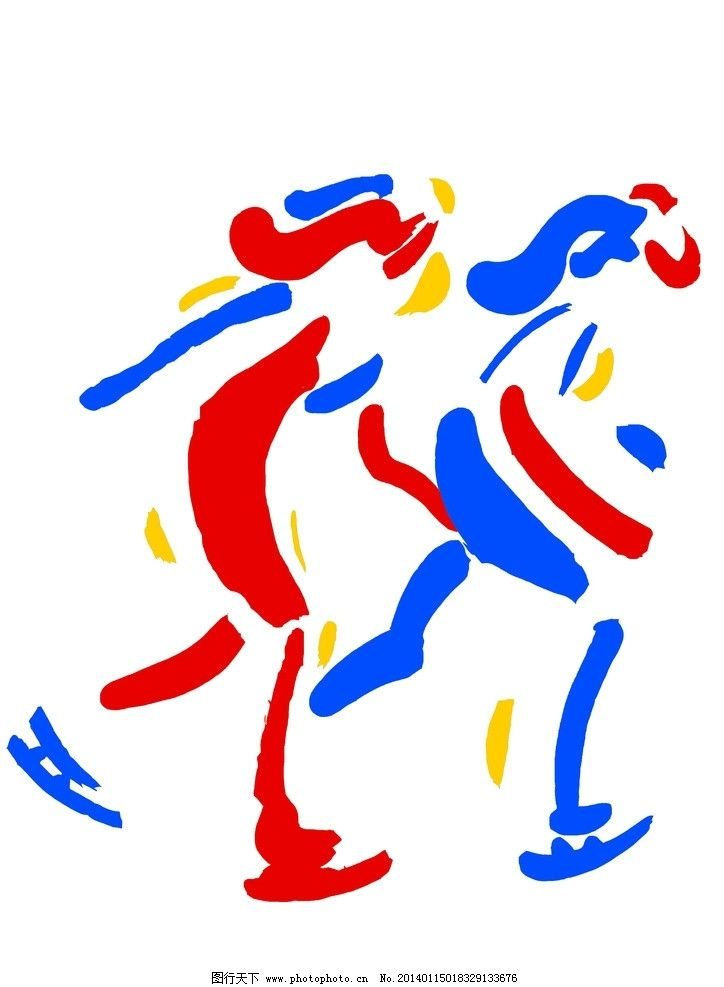 手绘色彩运动滑冰图片