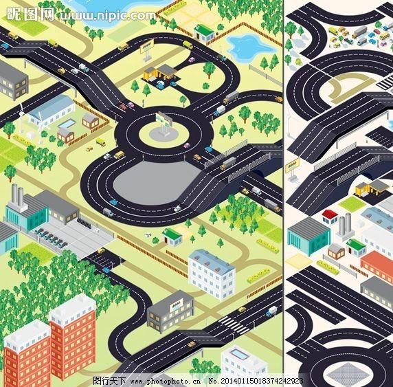 卡通城市设计 立体城市 城市规划 城市全景 楼房 房屋 房子 高楼