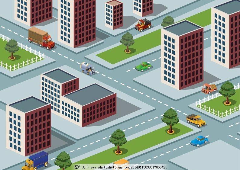 卡通城市 立体城市 城市 城市设计 城市规划 城市全景 楼房 房屋 房子