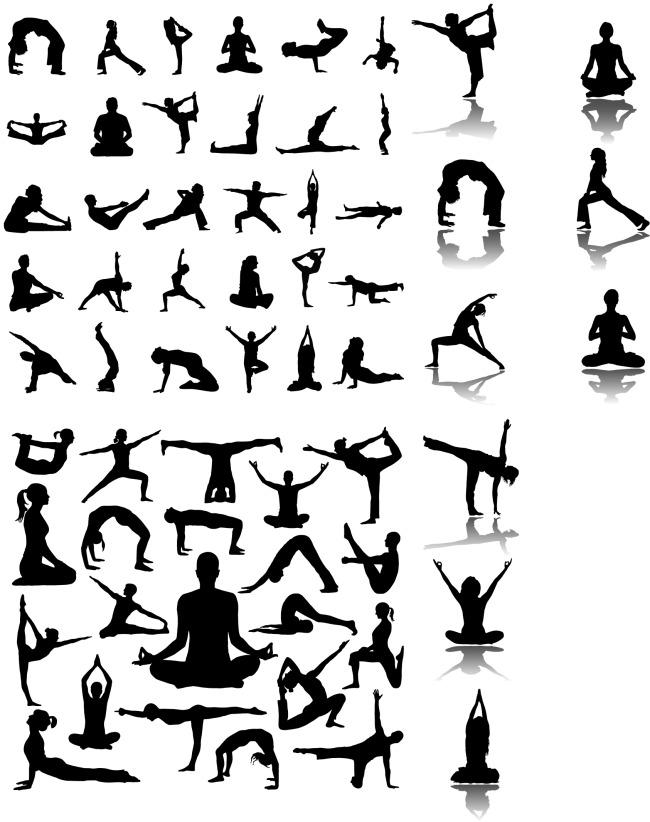 瑜伽人物动作剪影