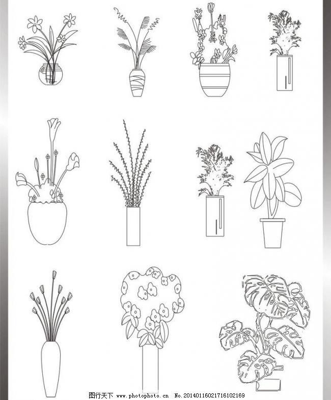 植物立面图 建筑家居 失量图 室内设计 装潢设计 植物立面图矢量素材