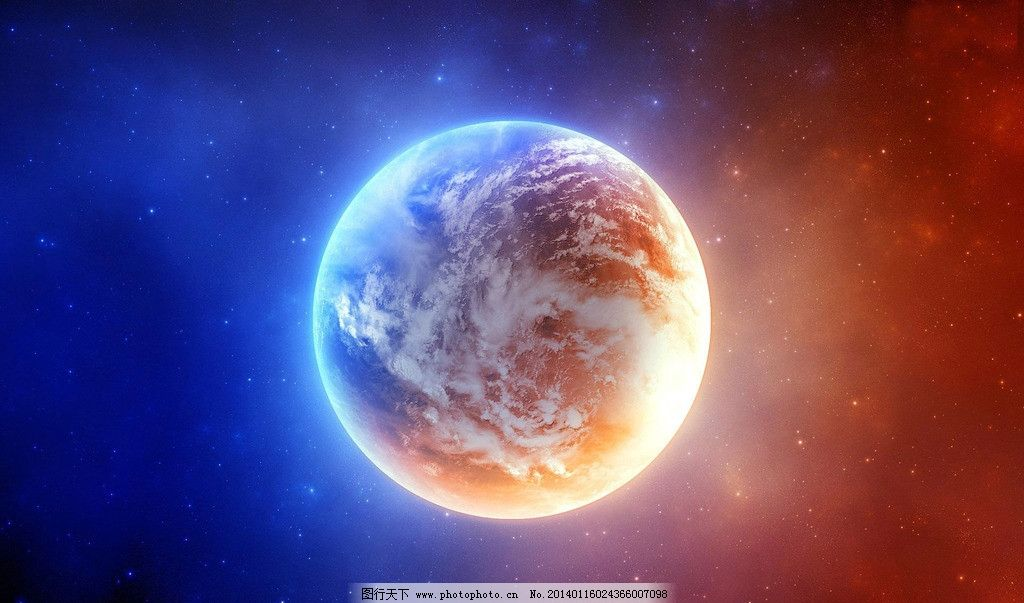 水彩手绘银河天体星球