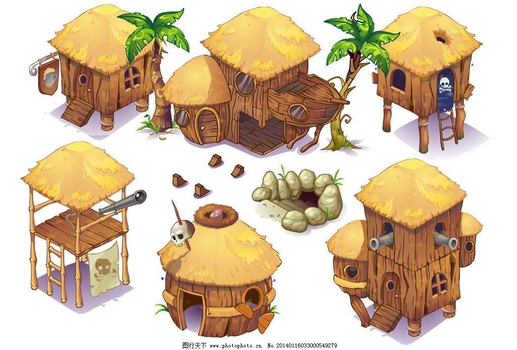 背景素材 创意设计 分层素材 卡通 可爱房子 漫画 屋子 创意骷髅草屋