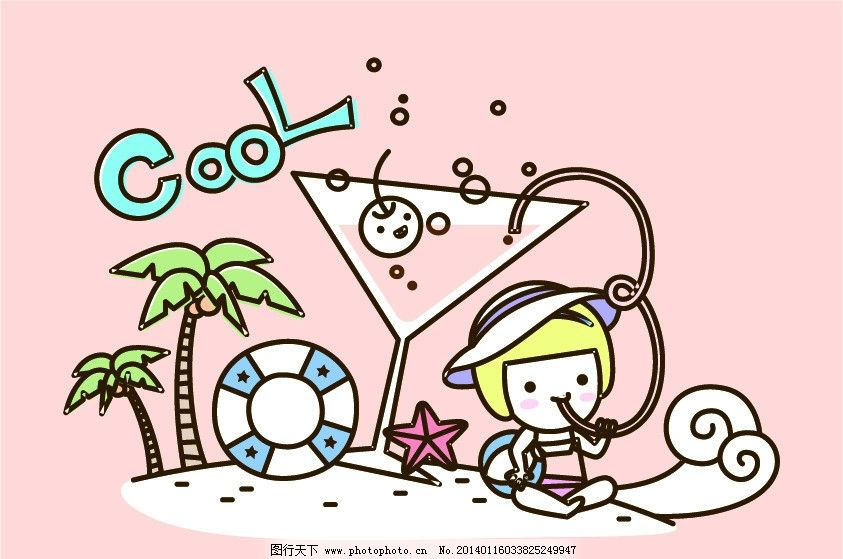 卡通画 海滩 女孩 可爱女孩 小女孩 游泳圈 椰子树 海星 沙滩 海边
