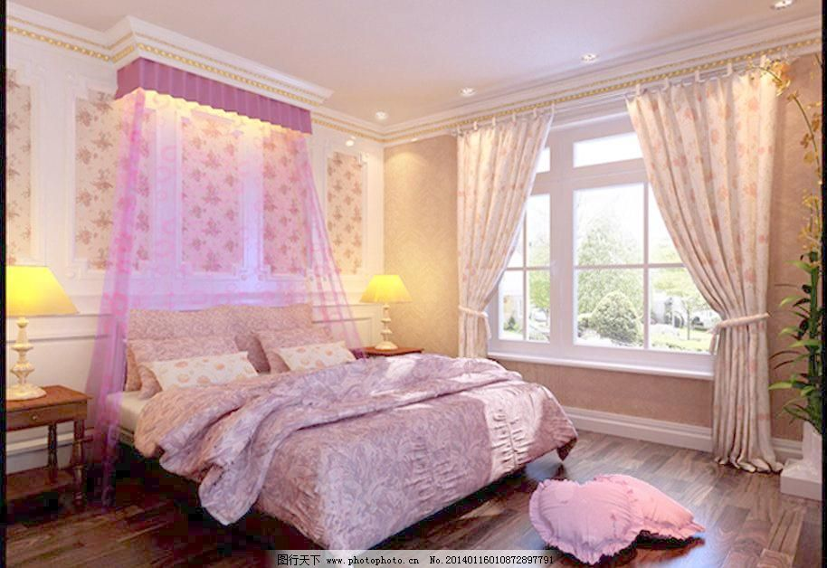 3d设计模型 max 壁纸 布幔 窗帘 床头柜 地板 欧式装饰 室内模型 台灯