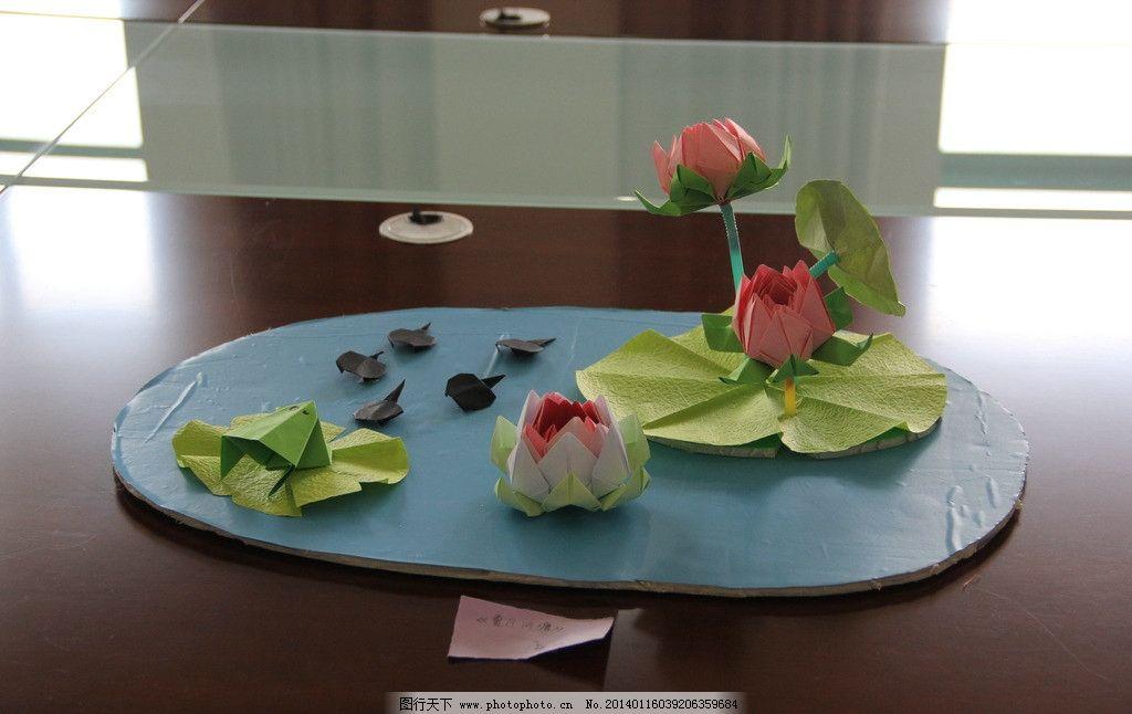夏日河塘 折纸 手工 艺术 彩纸 装饰 休闲 立体折纸 装饰画 荷花 青蛙