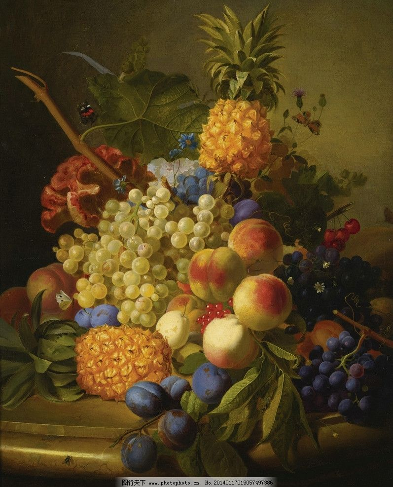 静物水果 葡萄 李桃 菠萝 桃子 樱桃 蝴蝶 19世纪油画 油画 绘画书法