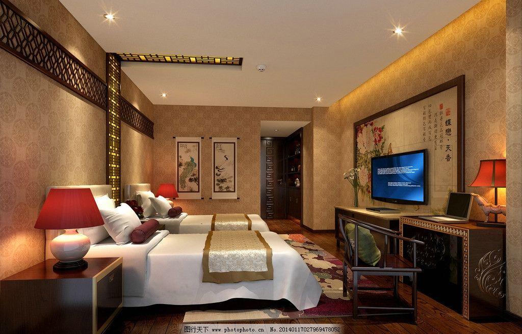 中式酒店 客房图片,电视 广告 效果图-图行天下图库