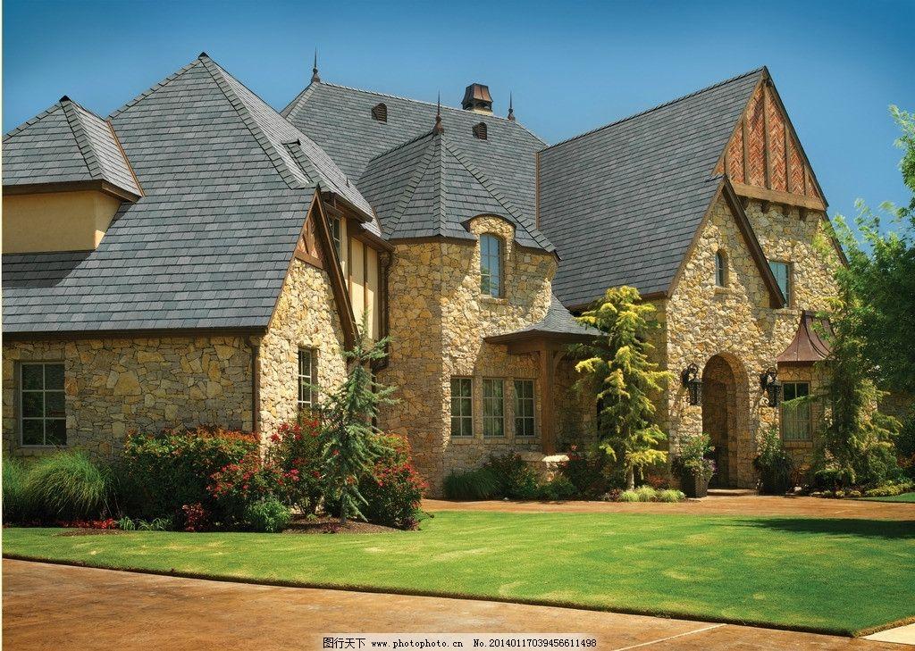 庄园建筑 别墅 酒店 度假村 欧式建筑 石头墙壁 住宅 房屋 房顶