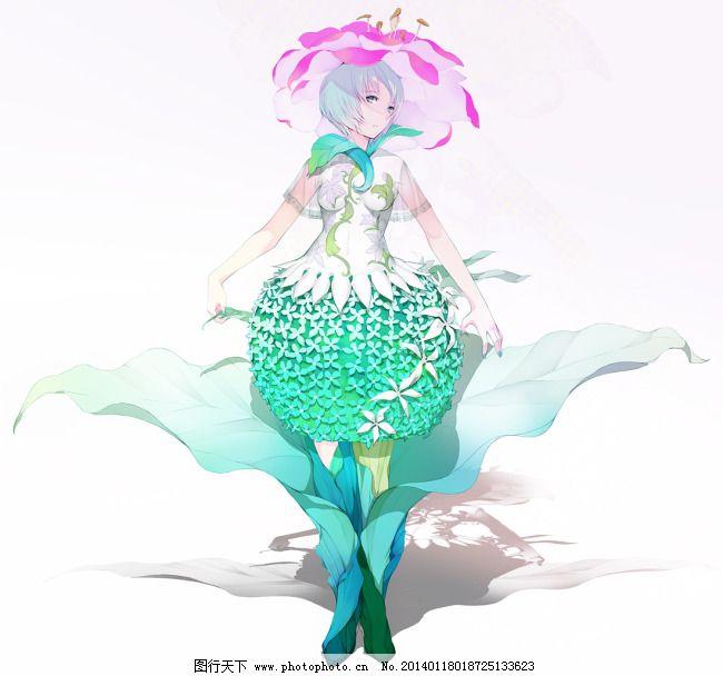 绿裙子女孩免费下载 花朵 少女 叶子 蓝发 叶子 花朵 少女 图片素材